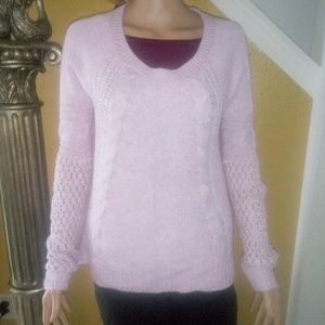 American Eagle pink and white knitted sweater